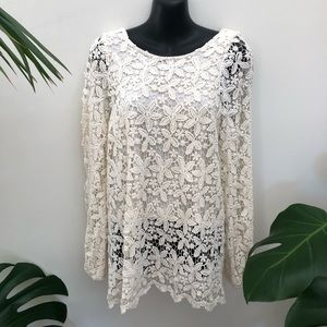 Sportsgirl Lace low scooped back long sleeve lined